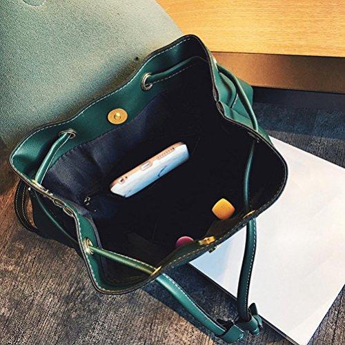 BZLine® Frauen Rucksack Leder Schule Taschen Teenager Mädchen Rucksäcke, 23cm *27cm *10cm Grün