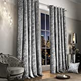 "Luxury Thermal Crushed Velvet Silver Grey Ringtop Pair of Curtains (46"" Wide x 90"" Drop)"