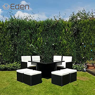 9-Piece/8-Seater PE Rattan Wicker Cube-Style Garden/Patio Dining Table/Chairs Set with Rain Cover