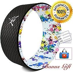 Roue de Yoga Comprend Manuel, Exercice Roue Pour améliorer la Flexibilité, Work Out Force du corps Prop 33 x 13cm, Supporte jusqu'à 474kg (Noir Coloré, 33 x 13 CM)