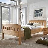 Pharao24 Bett mit Komforthöhe Kernbuche massiv Breite 126 cm Tiefe 205 cm Liegefläche 120x200