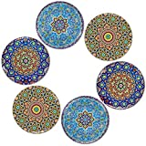 BOHORIA Premium Design Untersetzer (6er Set) – Dekorative Untersetzer für Glas, Tassen, Vasen, Kerzen auf ihrem Esstisch aus Holz, Glas oder Stein (rund | 9cm) (Mosaique Edition)