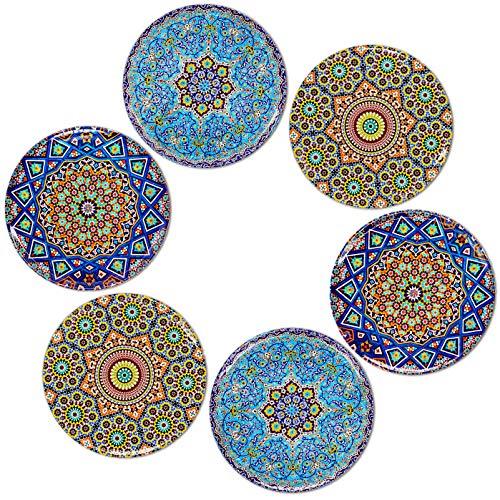 BOHORIA® Premium Design Untersetzer (6er Set) - Dekorative Untersetzer für Glas, Tassen, Vasen, Kerzen auf ihrem Esstisch aus Holz, Glas oder Stein (rund | 9cm) (Mosaique Edition)