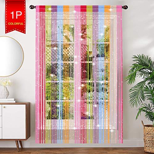 AIZESI Türvorhang Bunt Vorhänge Funkelnd Silber Fadengardine Fadenvorhang Verdunklungsvorhänge Schiebevorhänge(Rainbow)