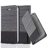 Cadorabo Hülle für Apple iPhone 4 / iPhone 4S - Hülle in GRAU SCHWARZ – Handyhülle mit Standfunktion und Kartenfach im Stoff Design - Case Cover Schutzhülle Etui Tasche Book