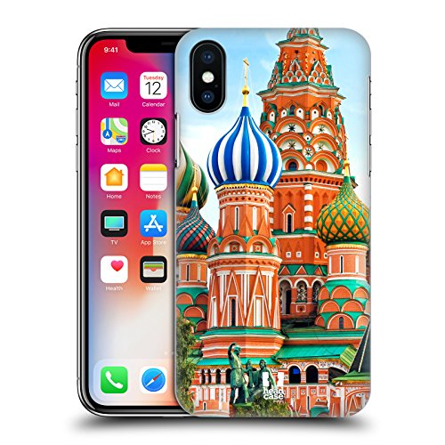 Head Case Designs Piazza Rossa Mosca Russia Piazze Di Città Famose Cover Retro Rigida per Apple iPhone X Piazza Rossa Mosca Russia