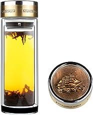 Fruit Infuser Tee Flasche Glas Teebereiter Trinkflasche - BPA frei, Ultra klar, auslaufsicher - mit Metalldeckel, 560ml