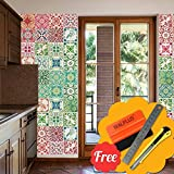 Walplus Entfernbarer selbstklebend Wandkunst Aufkleber Vinyl Wohndeko DIY Wohnzimmer Schlafzimmer Küche Dekor Tapete Marokkanische rot & grün Mosaik Fliesen Wand Sticker 48 stk. 15cm x 15cm