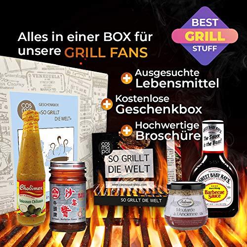 "61FMhT9XONL - Geschenkbox ""So Grillt Die Welt"" | Grillset BBQ Sauce BBQ Rub | Grill Geschenkset Grillen Für Männer | Grillzubehör Grill Geschenke Für Männer"