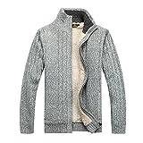 GWELL Herren Strickjacke mit Fleece Einfarbig Verdickte Sweater Cardigan Strickpullover mit Reißverschluss Stehkragen Hellgrau M