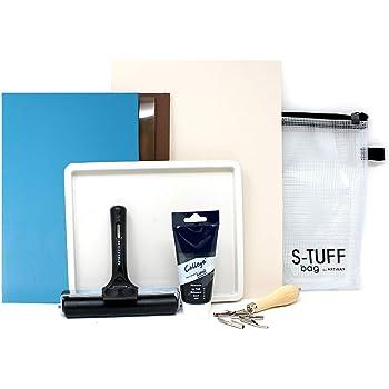 Artway - kit per linoleografia - foglio di polimero e linoleum, vaschetta colore, rullo, ecc.