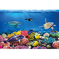 Póster Cuarto de niño Acuario Mural Decoración Mundo submarino Criaturas marinas Océano Peces Defín Tortuga Arrecife | foto póster mural imagen deco pared by GREAT ART (140 x 100 cm)