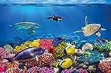 Poster per la stanza dei bambini immagine da parete acquario decorazione mondo subacqueo abitanti del mare oceano pesci delfini tartarughe barriera corallina | Fotomurales by GREAT ART (140 x 100 cm)