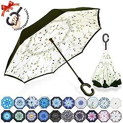 ZOMAKE Parapluie Inversé,Parapluie Canne,Double Couche Coupe-Vent, Mains Libres poignée en Forme C, Idéal pour Voiture et Voyage (Petits Plants de légumes)