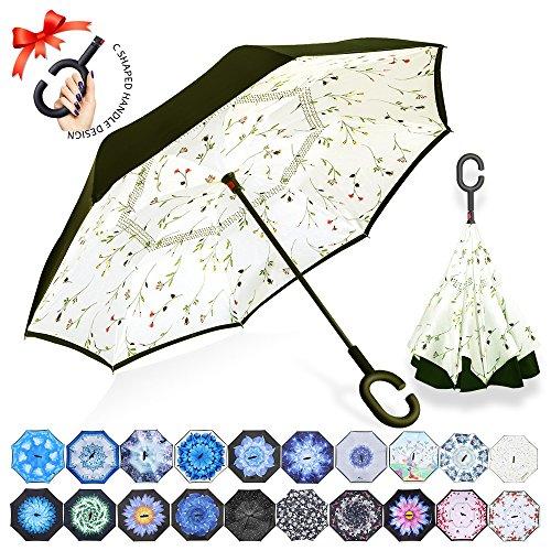 ZOMAKE Inverted Stockschirme, Innovative Schirme Double Layer, Winddicht Regenschirm, Freie Hand,Umgedrehter Regenschirm mit C Griff für Auto Outdoor (Kleine Gemüsesämlinge)