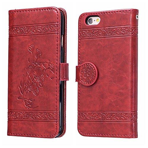 Voguecase Pour Apple iPhone 6/6s 4,7 Coque, Étui en cuir synthétique chic avec fonction support pratique pour iPhone 6/6s 4,7 (Modèle en cire d'huile-Jaune)de Gratuit stylet l'écran aléatoire universe Modèle en cire d'huile-Rouge