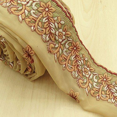 Vintage Indische gestickte Spitze Beige Trim verwendet Sari Border Nähen 1YD Ribbon (Gestickte Ribbon Trim)