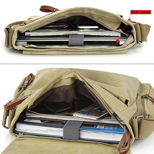 Zicac Neu Herren Canvas Schultertasche Schultasche für Outdoor Canvas Leder Umhängetaschen Vintag Tasche Canvas Rucksack Canvas Aktentasche (Khaki(1)) Khaki