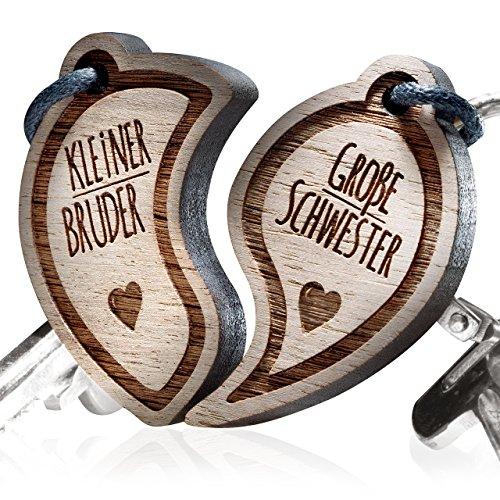 Schlüsselanhänger graviert: Kleiner Bruder - Große Schwester