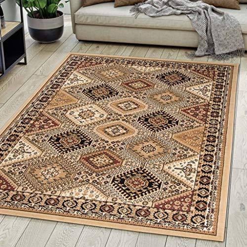 *Carpeto Rugs Teppich Orientalisch Beige Klassisch Muster Kurzflor Öko-Tex Wohnzimmer 120 x 170 cm*