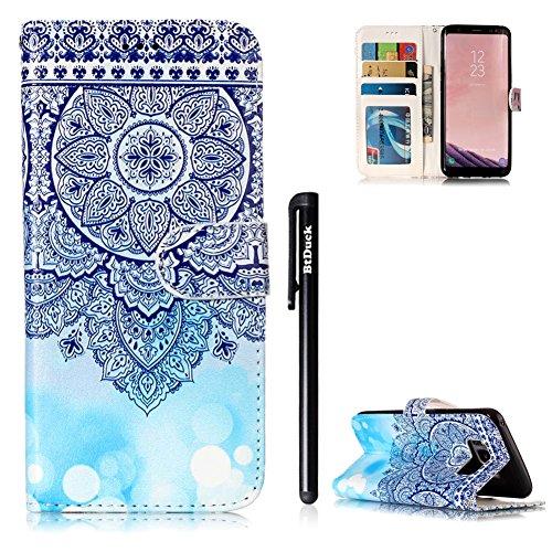 Samsung Galaxy S8 Hülle Blau,BtDuck PU Leder Ultra Slim Dünn Weich Tasche Bunt Muster Brieftasche Ledertasche Weich Silikon Back Cover Hülle Schutzhülle Samsung Galaxy S8 Handytasche - Mandala
