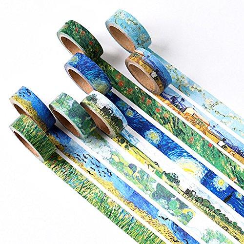 8rollos de Washi cinta de carrocero, 8estilo de van Gogh pintura d