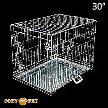 Cozy Pet Deluxe Cage pliante en métal avec 2 portes pour Chiot, Chien Caisse avec plateau métallique, Caisses, Cages en Argent - Taille 77cm. DC30S