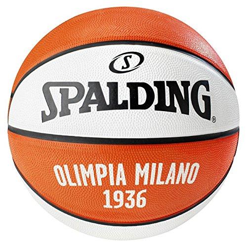 Spalding El Team Olimpia Milano Sz.7 (83-055Z) Balón de Baloncesto, Rojo / Blanco, 7