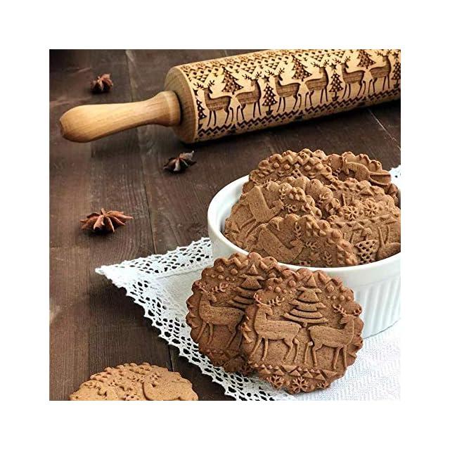 KOBWA Rouleau /à P/âtisserie en Bois Motif No/ël,Rouleau /à Biscuits Grav/é pour la D/écoration de G/âteau