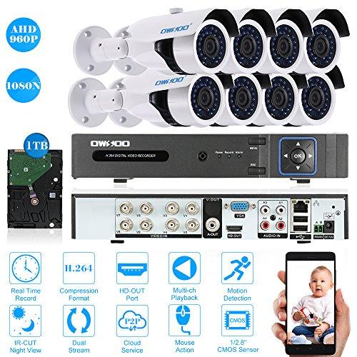OWSOO-8CH-1080N-DVR-H264-Grabador-1TB-Disco-Duro-8x-960P-AHD-Cmara-Bala-IR-CCTV-8x-60ft-Cable-de-Vigilancia-Soporta-APP-Control-Deteccin-de-Movimiento-Visin-Nocturna
