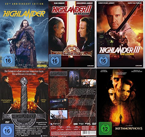 HIGHLANDER 1 2 3 4  - KOMPLETTE SAGA + Bonusfilm METAMORPHOSIS  5 DVD Complete Collection