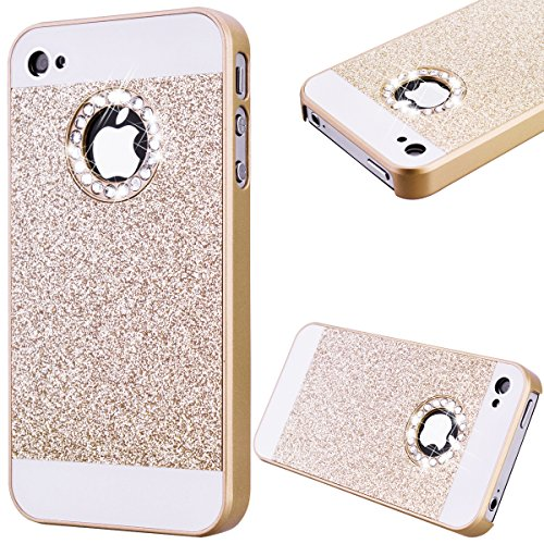 GrandEver Hard PC Case for Apple iPhone 4S iPhone 4 Rigid Glitter Back Cover Solid Color Bling Shiny Sparkle Design High Quality Plastic Shell Shockproof Tough Case Cover Flexible Cell Phone Hull for Apple iPhone 4S/iPhone 4 --- Gold