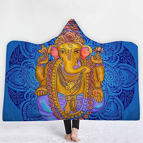 FGVBWE4R 3D Indischer Elefant Buddhismus Kapuzendecke Sherpa Fleece Ocean Blue Tragbare Plüsch Decke Auf Bett Sofa Dicke Warm-150x200cm