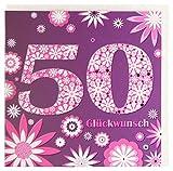 Geburtstagskarte zum 50. Geburtstag lila pink
