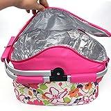 zhxinashu Isolierte Faltbare Große Kapazität Picknickkorb Camping Lunch Bag mit Tragegriff 20L (Rosa)