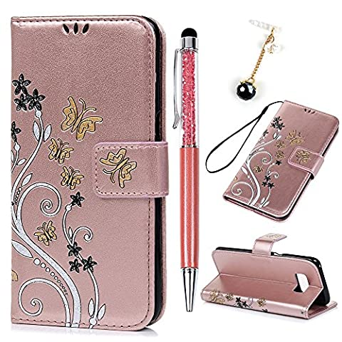 S8 Case, Lanveni Gold Butterfly Embossed Wallet Leather Case For Samsung Galaxy S8 [Black-White Flowers] Flip Stand Surpport Magnetic Closure Cover with Soft TPU + Detachable Hand Strap + 3 ID Card Slots Holders + 1 Stylus Pen + 1 Dust Plug - Rose