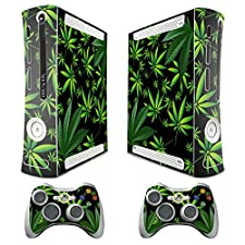 247Skins - Skin despegable para Xbox 360 y mandos, diseño de hojas de marihuana, color negro