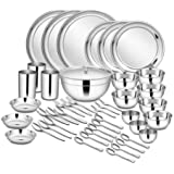 Shri and Sam Stainless Steel Dinner Set, 45-Pieces, Service for 3, Silver