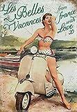 vaspa Les Belles Vacances. Lady, Fenster Dot Bikini auf weiß Vespa. Motor Roller. 1950's Beach, nicht Mod. Für Zuhause, Garage, Kneipe oder man Cave Metall/Stahl Wandschild, stahl, 30 x 40 cm