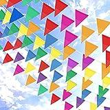 Topeedy Bruant Bannière, 200 M Multicolor Nylon Banderole Bruant avec ,300 Grand Triangle Fanion pour Intérieur Extérieur Party Maison Jardin Décoration