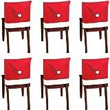 10 piezas de fundas para sillas con gorro de Papá Noel, funda trasera de silla con temática navideña, decoración de mesa de c