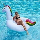 Aufblasbares Einhorn Luftmatratze, Minglitai Einhorn Aufblasbar Insel für 1-2 Personen, Aufblasbarer Luftmatratze Einhorn Pool, Aufblasbare Pools Schwimmtier für Erwachsene Kinder (Small)