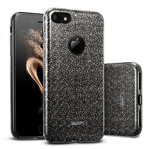 Esr iphone 7 cover con brillantini/glitters, custodia brillante lucciante luminosa [elastica e morbida] per apple iphone 7 (nero)