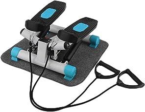 KinshopS 2 in1 Swing Stepper up-Down Ministepper mit Trainingscomputer 2 längenverstellbare Trainingsbändern und großen Trittflächen Blau