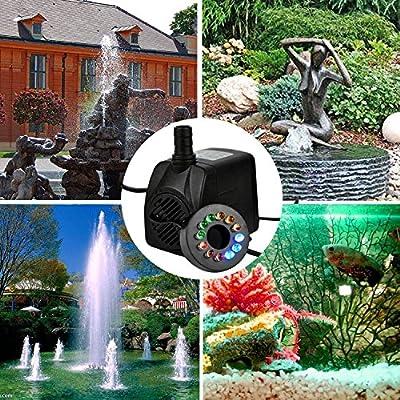 Beetest Pompe Aquarium, Pompe Bassin 10W 504L/H Pompe à eau submersible avec des buses de sortie de lumière LED pour Aquarium Fish Tank Fontaines bassin de jardin Type UE