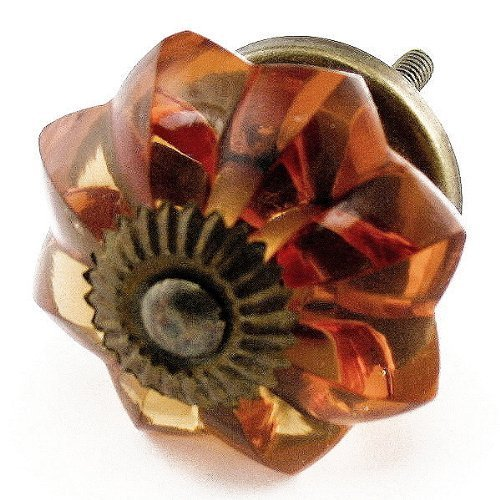 Old Amber Glass Cabinet Knobs 4 Pc Cupboard Drawer Pulls & Handles ~ K85 Old Amber Melon Style Glass Knobs with Antique Brass Hardware ~ Glass Knobs, Handles & Pulls for Dresser, Drawers, Cabinets & Vanity by Knobs & More Home Decor - Style 4 Drawer Dresser