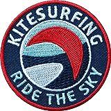 2 x KiteSurfing Abzeichen gestickt 60 mm / Aufnäher Aufbügler Sticker Patch für Kitesurfen Surfen Kite-Surfing Kiten Kiting Kiteboard Kitebrett Kitebar Boardset Segel Lenkmatte Kite-Drachen