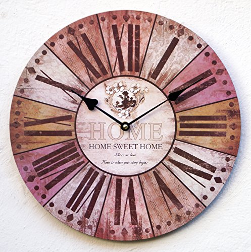Uhr Wanduhr Küchenuhr braun bunt antik Wand Küche Quarzuhr Home Sweet
