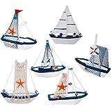 DAYOLY 6pcs Modèle de voilier Décoration Artisanale Bateau de pêche en Bois Jouet de Marine Ornements de Table pour l'anniver