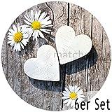 matches21 Tischsets Platzsets MOTIV Gänseblümchen auf Holzbrett 6 Stk. Kunststoff abwaschbar rund, je Ø 38 cm